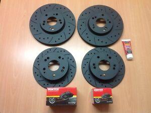 MAZDA-rx8-323mm-front-arriere-fore-rainure-Noir-editiobrake-disques-amp-mintex-pads