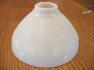 VINTAGE-LARGE-MILK-Glass-Light-Lamp-SHADE-Stiffel-Cone-Waffle-Texture-Art-Deco