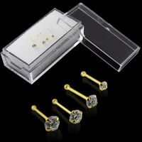 22g 9k Solid Yellow Gold 6mm Round Cubic Zircon Jeweled Nose Bone 3 Pieces Box