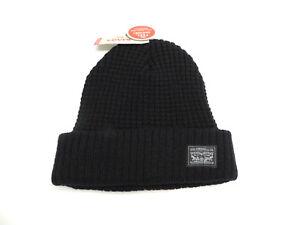 d2ff17c007dec Levi s Black Fleece Lined Waffle Knit Beanie Hat Men s New! NWT