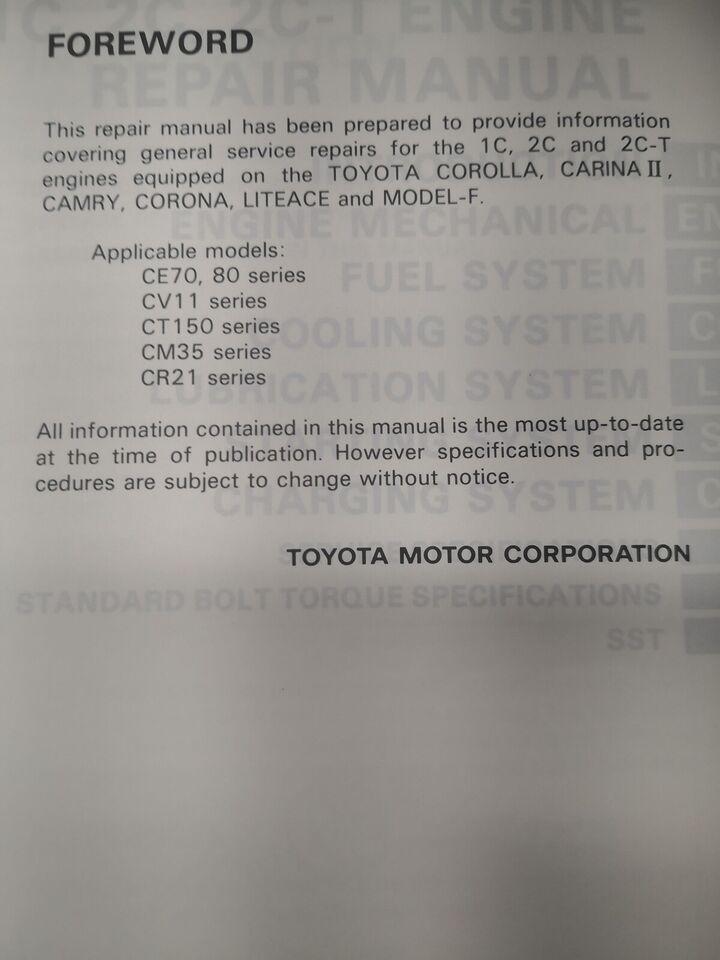 (125)Reparationsbog, Toyota motorbog 1C,2C,2C-T