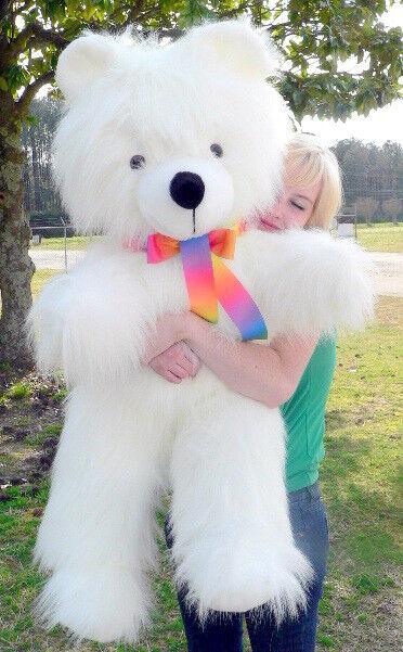 American Made Giant Teddy Bear 45 inch Soft bianca Big Plush Animal Made in USA