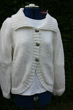 Brand new white hand knitted cardigan acrylic wool size 16 - 18