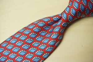 Hermes-5353-TA-Cherry-Red-Blue-Suitcase-Novelty-Travel-Silk-Mens-Tie