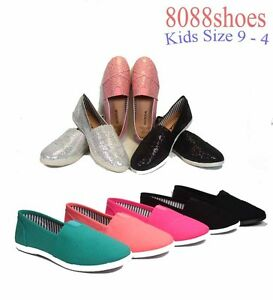 Youth-Girls-Kids-Cute-Causal-Slip-On-Flat-Heel-Round-Toe-Color-Shoes-Size-9-4