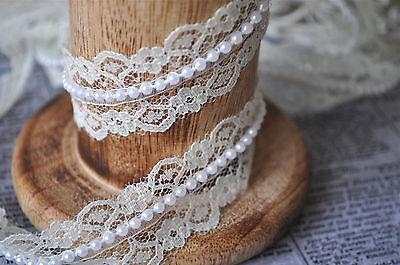 1M Ivory Beaded Pearl Lace Trimming Ribbon Bridal, Vintage, Shabby Chic Wedding