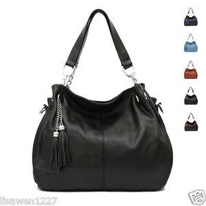 Genuine-Leather-Women-039-s-Handbag-Shoulder-Bag-Purse-Black-Snow-White-Brown-Color