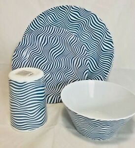 Indigo Stripe Melamine 16pc Dinner Set