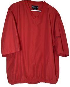 FOOTJOY-Golf-V-Neck-RED-Short-Sleeve-Windbreaker-With-Pockets-Size-XL