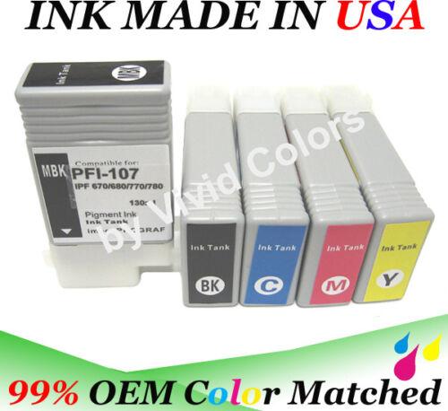 WF Compatible ink cartridges any 3 of 5 PFI107 cartridges fits CN ipf685
