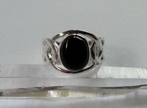 526 Celtic Black Onyx Solid 925 Sterling Silver Gemstone Ring sz N//Q//T rrp$89.95