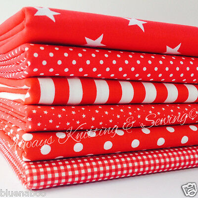 6 FAT QUARTER BUNDLE RED basics spots stripes plains 100 % cotton fabric