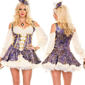 Renaissance Costume Medieval Clothing Wench Pirate Gold Jacquard Brocade Corset