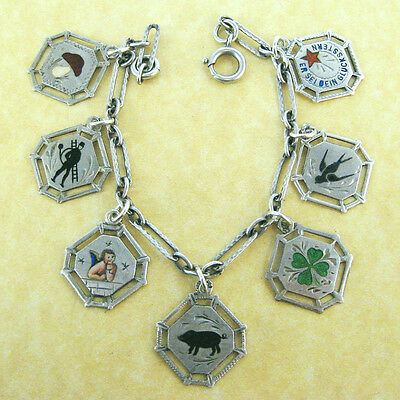 Antique Engraved Silver Charm Bracelet 7 Lucky Enamel Charms Clover Pig Angel +
