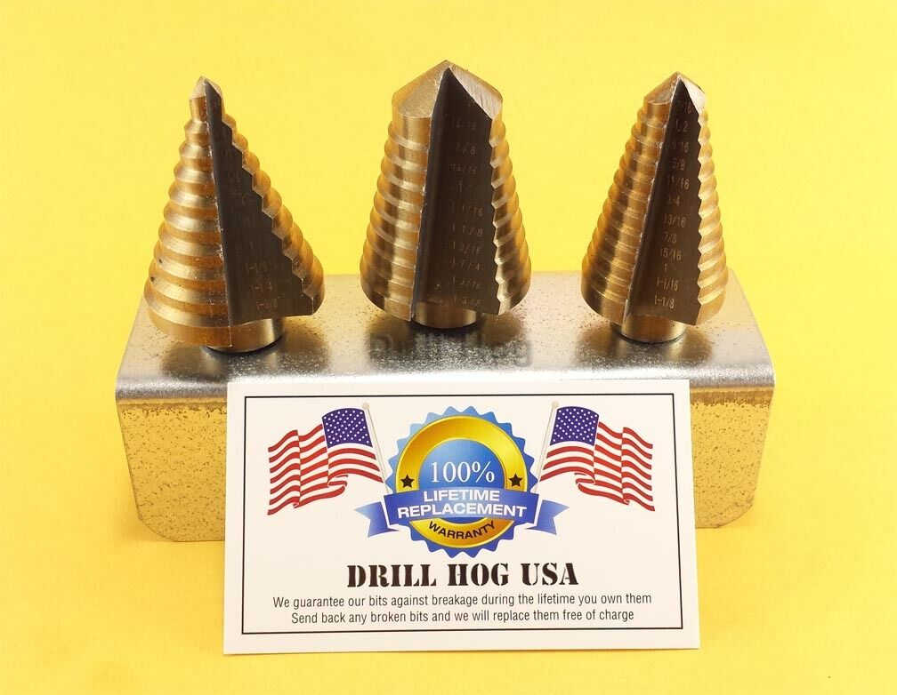 Step Drill Bit Set Hi-Molybdenum M7 Step Bit UNIBIT Drill Hog Lifetime Warranty