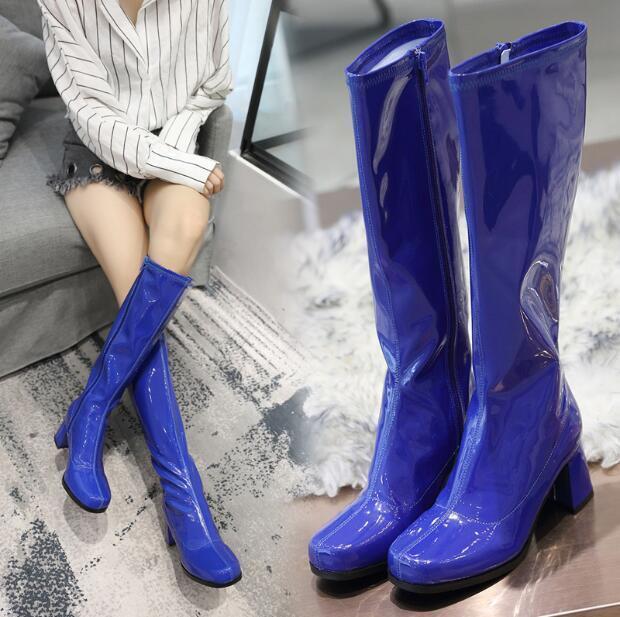 British Para Mujer Cremallera Lateral Grueso Grueso Grueso Talón la rodilla botas altas CABALLERO Zapatos Charol  tiempo libre