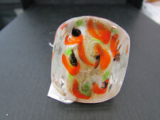 A BIG CHUNKY WHITE,ORANGE,GREEN & BLACK TENDENCE GLASS RING. UK.N  US.6.5. (40).