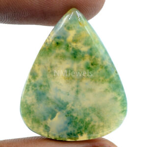 Cts-33-60-Natural-Landscape-Moss-Agate-Cab-Pear-Cabochon-Loose-Gemstone