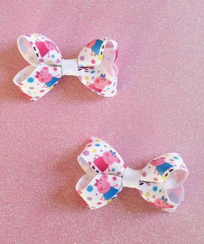 "3/"" Handmade Pair of Peppa Pig Grosgrain Ribbon Hair Bow Clips or Bobbles"