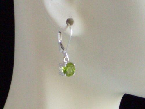 Nouveau Argent Sterling 925 Véritable Péridot charme Leverback Boucles d/'oreilles 1.5tcw