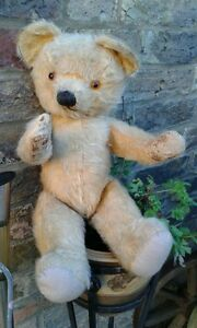 Antique-Chad-Valley-English-labelled-collector-teddy-bear-18-034-jointed-mohair-Tim