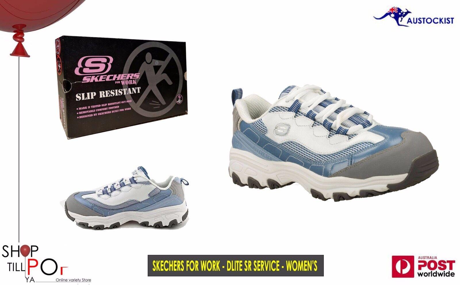 Skechers for work D'LITE S R - SERVICE Blue/Grey Women's US: 9.5 BNIB Toe Cap