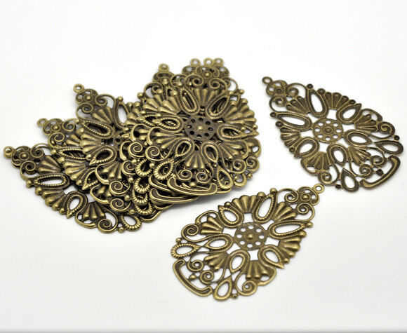 20 Pop Bronze Tone Drop Pendants/ Connectors 6.8x4cm