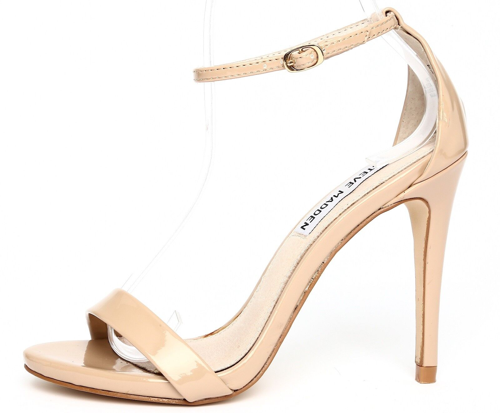 Steve Madden Stecy Patent Leather Nude Ankle Strap Sandal Heels Sz 5.5M 2619