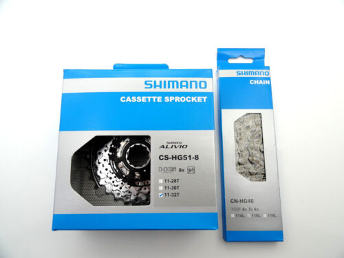 Kette Shimano HG 40 116GL 11-32 Zähne Set Shimano 8 fach Kassette Alivio HG 51