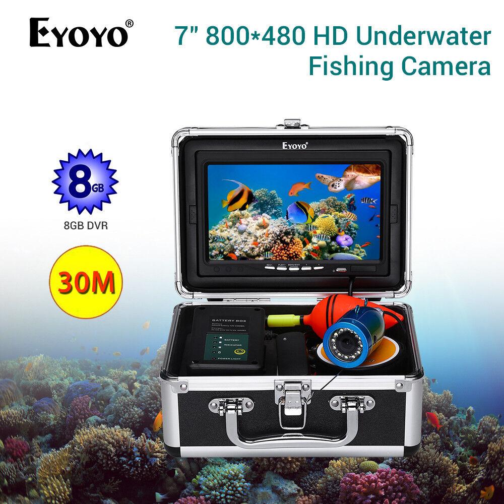 7  pulgadas TFT LCD Monitor submarino Video Cámara 8GB Dvr 30M 1000TVL Buscador de los pescados