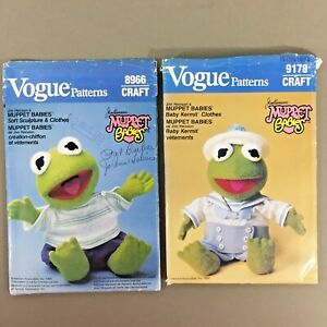 Lot-of-2-Kermit-the-Frog-Muppet-Babies-Doll-amp-Clothes-sewing-patterns-uncut