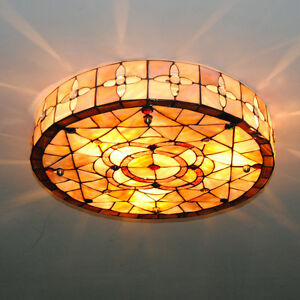 Details About 18 Retro Tiffany Ceiling Lights Stained Shell Dining Room Light Fixtures Cl233