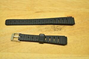 12mm-BLACK-PLASTIC-WATCH-BAND-STRAP-SILVER-TONE-BUCKLE-NEW