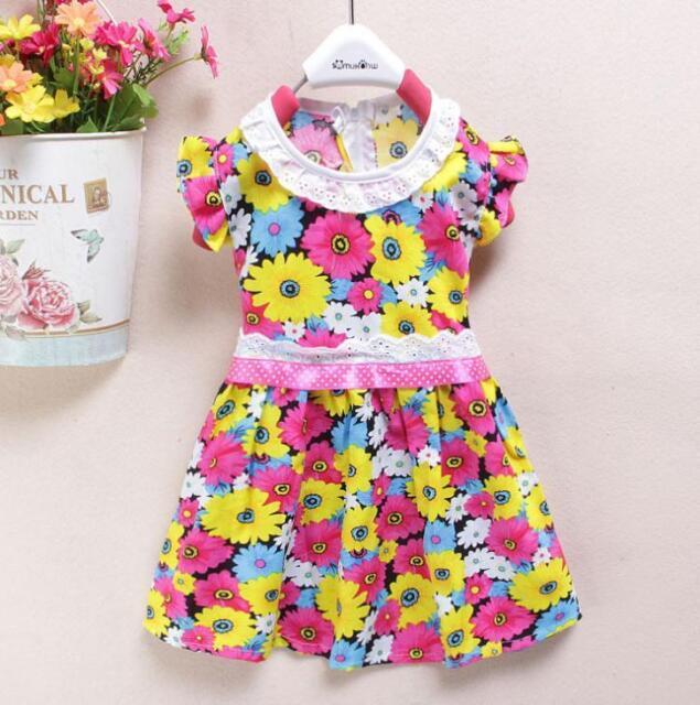 baby girls summer dress 6-12-18-24 months DAISY FLORA pattrn cotton party dress