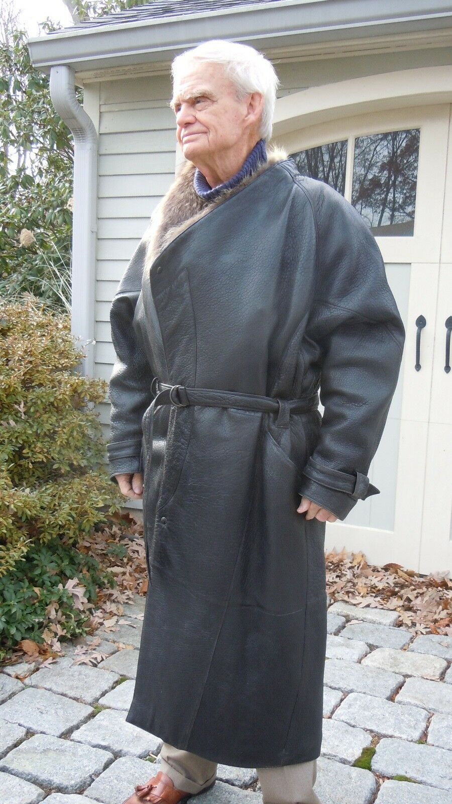 Herren European Leder overcoat,