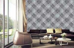 Papel-Pintado-Rasch-Marmol-DIAMANTES-Azulejo-gris-Negro-De-Lujo-Liso