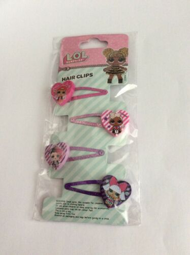 4  x LOL Surprise Hair CLips NEW Pretty Heart Character charms Glitter