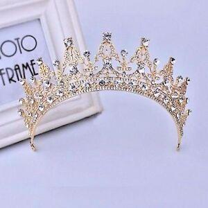 baroque gold bridal girl prom jewelry rhinestone crown tiara comb