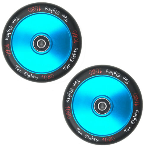 2x 1080 ultra solide Hollow Lite remplacement 110 mm Stunt Scooter Roues Turquoise