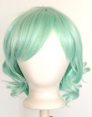 12'' Short Wavy Bob Mint Green Synthetic Cosplay Lolita Wig NEW