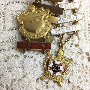 Vintage-Masonic-DeMolay-Merit-Service-Bar-Pin-Ladder-Youth-Award-Medals-Emblem