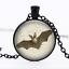 Big eared bat de verre noir cabochon Chaîne Collier Sautoir Pendentif Wholesale