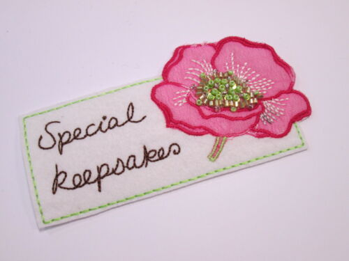 Embroidered Pink Fuscia Flower Special Keepsakes Making Motif Arts Crafts #6A18