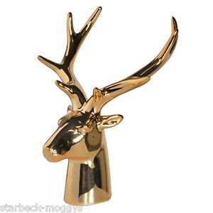 Small gold stag head deer bust decorative figure with antlers ebay - Decorative stags head ...