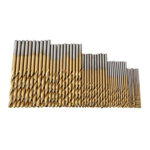 50 Piece Set HSS Metric Twist Drill Bit Set Titanium Nitride Coated Metal AL