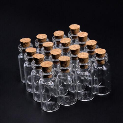 10Pcs Small Glass Bottle Wishing Necklace Love Letter Bottle Pendant Cork Vials