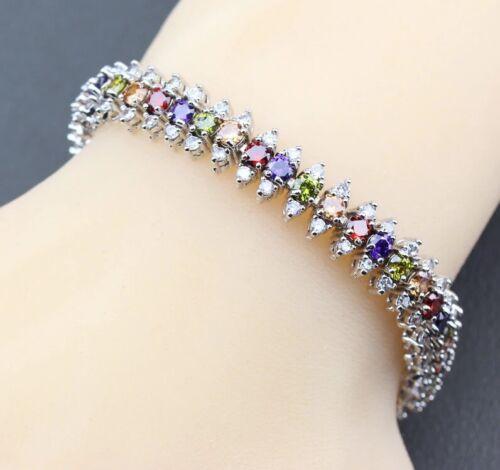 Bridal Wedding Jewelry Set Silver Multicolor Zircon Earrings Ring Necklace