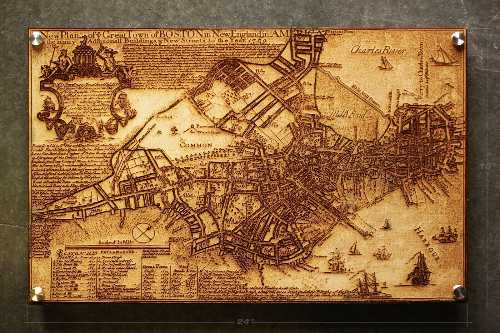 Laser Engraved Vintage 1796 Boston Map Etched Wood City Street New England MASS