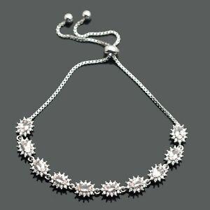 925-Sterling-Silver-Natural-Morganite-Oval-Cut-Gemstone-Adjustable-Bracelet