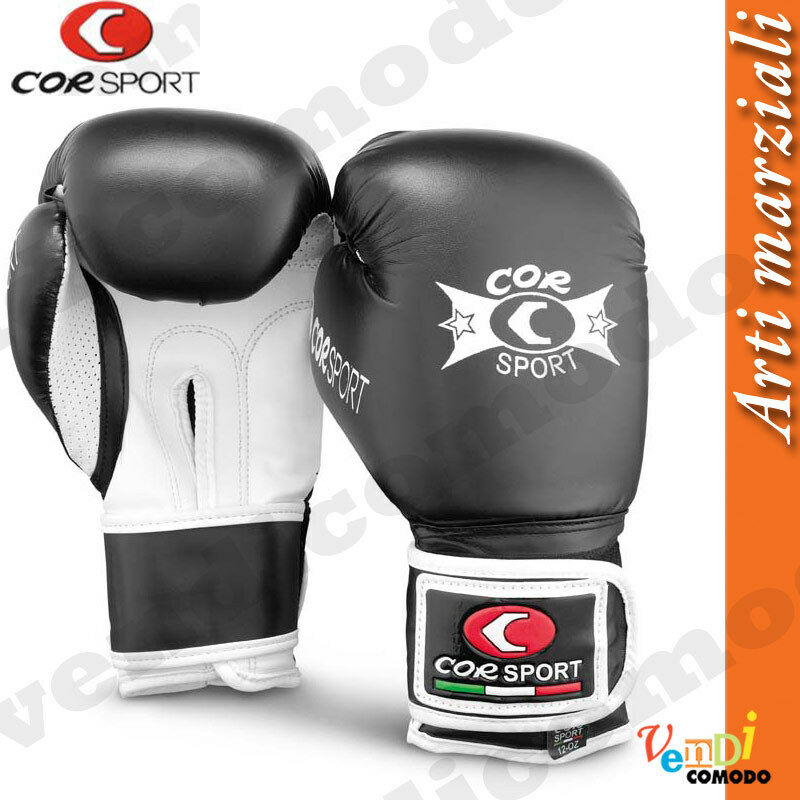 Guantoni boxe Corsport pelle sintetica arti marziali 8-10-12 once vari colori